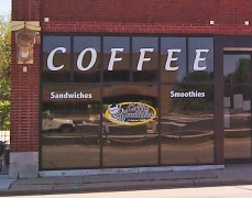 1221 vinyl window graphics - Carolyns Coffee